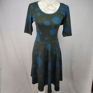 LulaRoe teal dot swing dress with sleeves